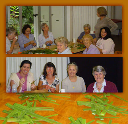 The ladies making crosses in the traditional way for Palm Sunday (March 24, 2010)